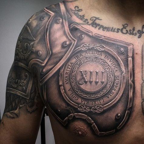 Cover De Tribal Con Armadura De Medio Brazo Y Pecho Tattoo
