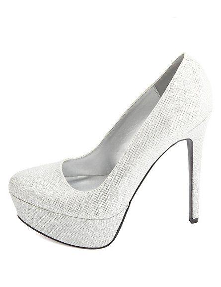 e0815bb5d6 Glitter Mesh Platform Pumps: Charlotte Russe   shoes