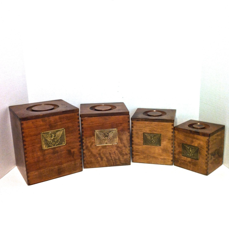 Vintage Canister Set Wood Canister Set Nesting Canister Set Cannister Wooden  Canister Kitchen Storage Brass American