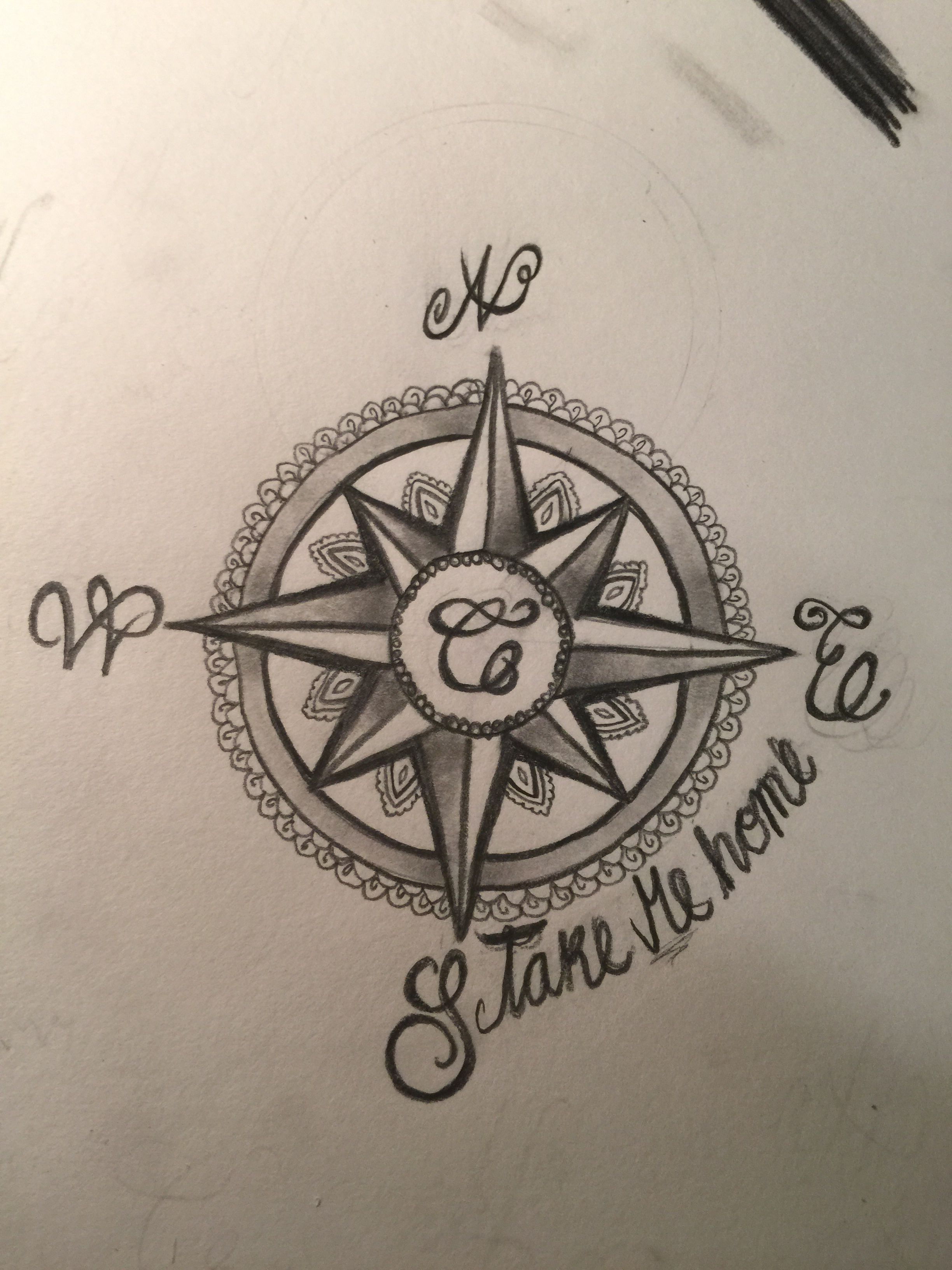 Compass Tattoo Line Drawing : Next tattoo i want that drew sloppy bc it was quick compass