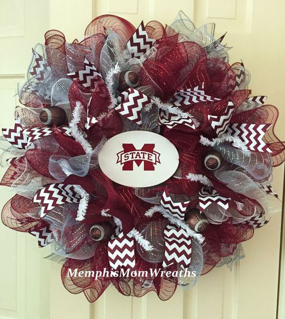 Mississippi State Deco Mesh Wreath  Deco Mesh by MemphisMomWreaths
