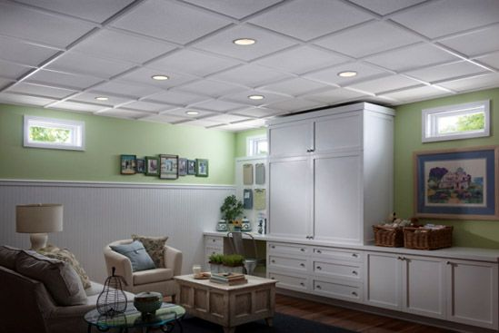 Custom Creations By Armstrong Elegant Coffered Ceiling Panels Dropped Ceiling Basement Ceiling Ideas Cheap Basement Remodeling