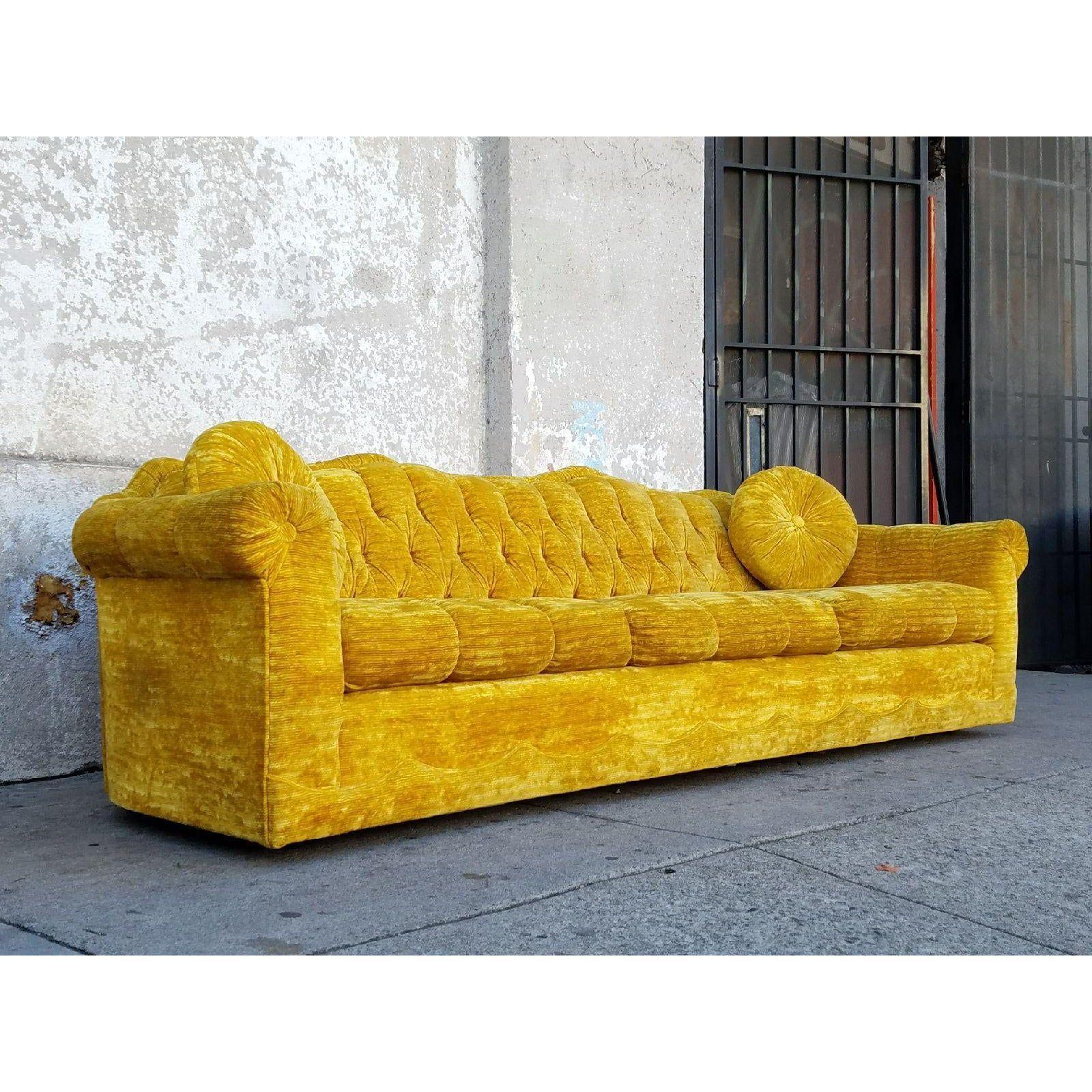 Vintage Gold Velvet Sofa Chairish In 2020 Velvet Sofa Vintage Sofa Crushed Velvet Sofa