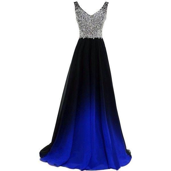 Plus Size Beaded Black Gradient Purple Chiffon Long Prom Evening ...