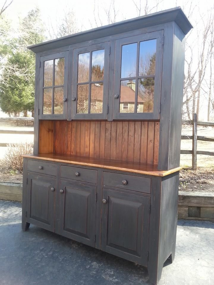 Antique Amish Built Furniture Unfinished Reclaimed Barn Wood China Cabinet Hutch