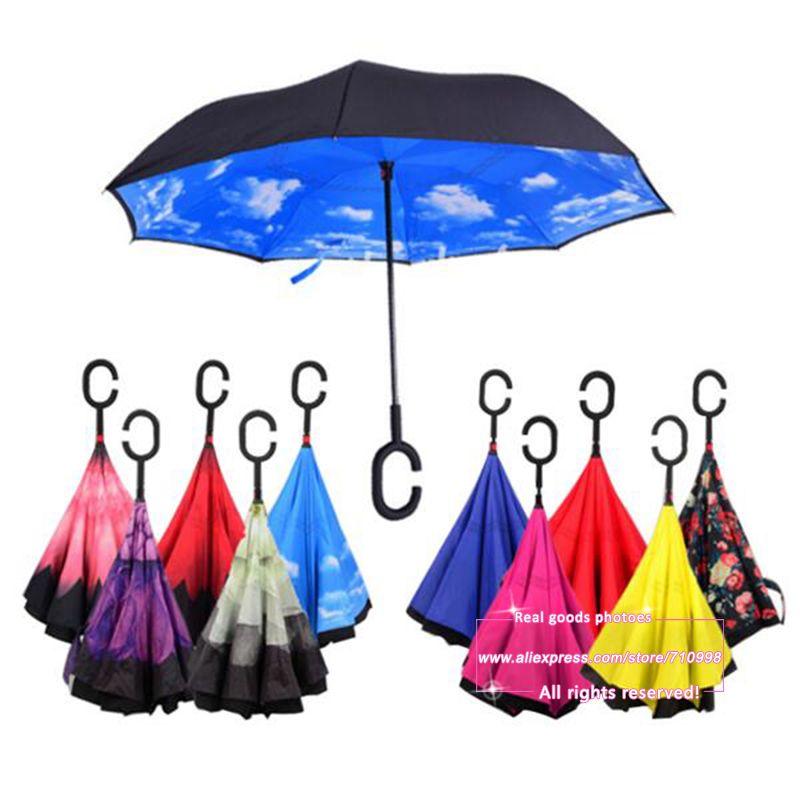 방풍 역 접이식 더블 레이어 반전 Chuva 우산 자기 스탠드 안에 비 보호 C 후크 핸즈프리 자동차