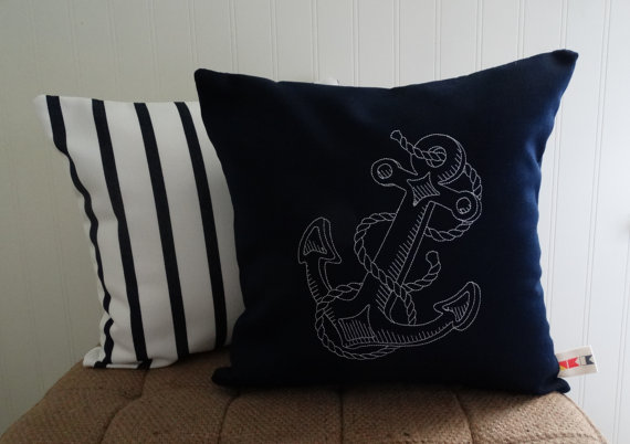 Sunbrella ANCHOR PILLOW COVER Indoor Outdoor 14 X 14 Beach Throw  Embroidered Nautical Sea Ocean Coastal Beach Lake House Oba Canvas Co