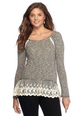 Jolt  Striped Lace-Hem Top