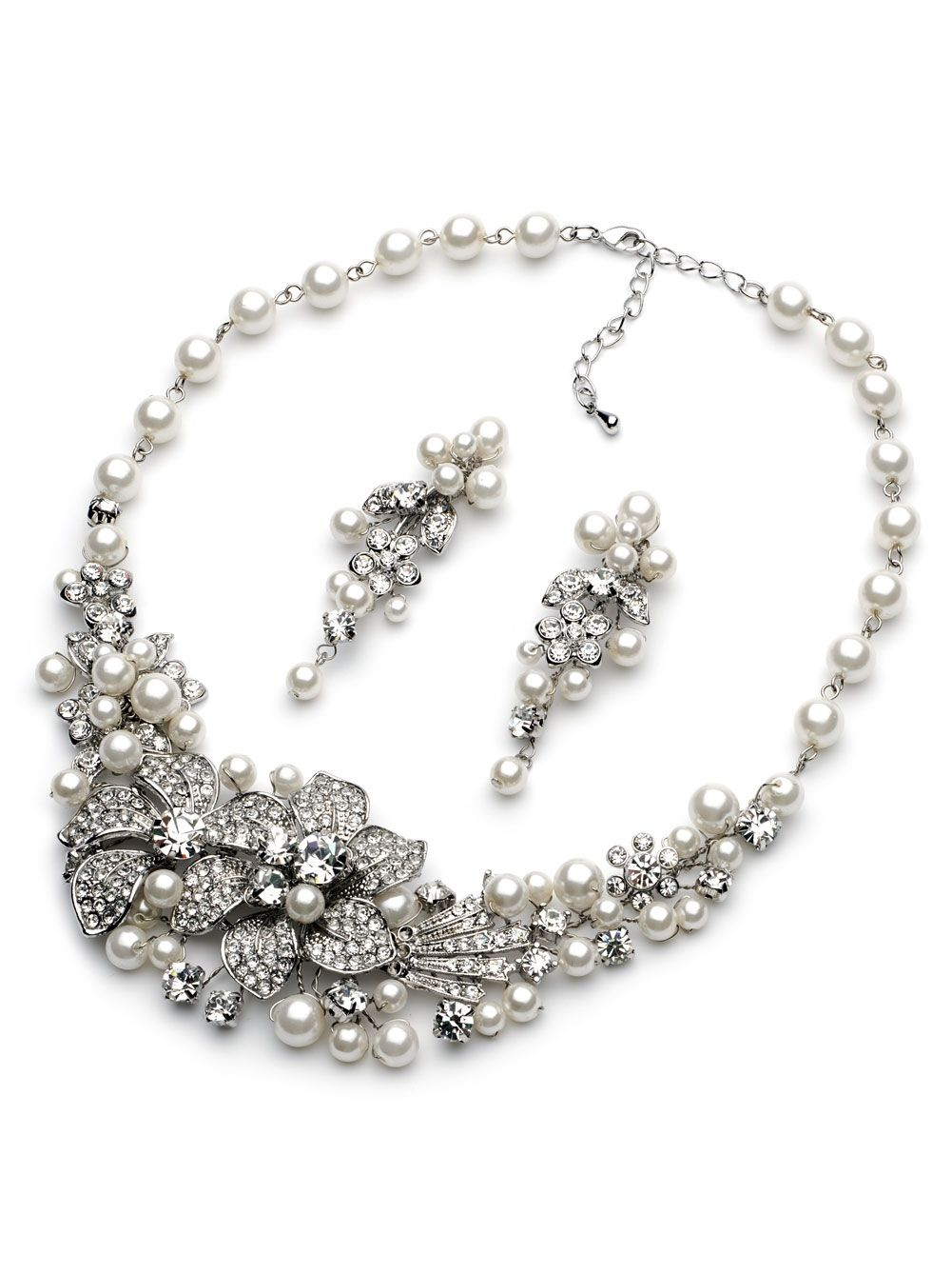 Couture Pearl Crystal Necklace and Earrings Jewelry Set