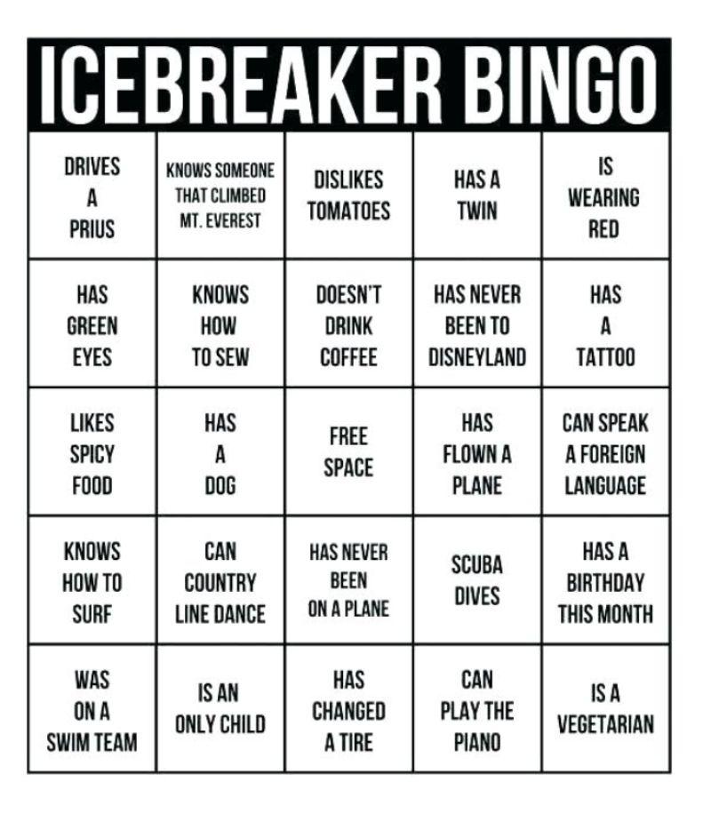 Sample Human Bingo Grids For Team Building Teambonding Ice Breaker Bingo Ice Breaker Games Team Building Activities