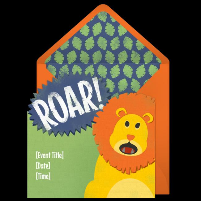 Free Roaring Lion Invitations – Free Digital Birthday Invitations