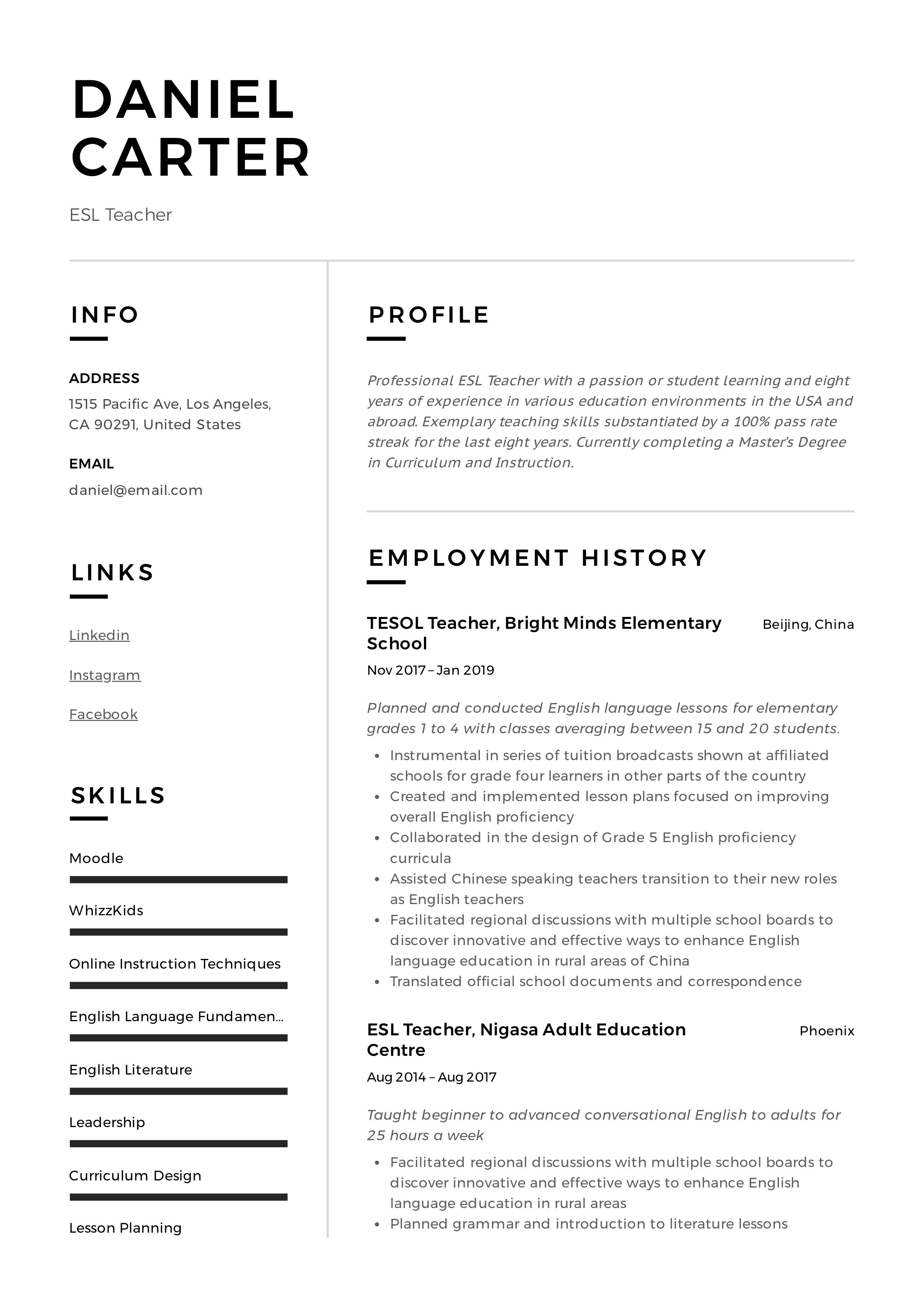 ESL Teacher Resume & Writing Guide +12 Free Templates in