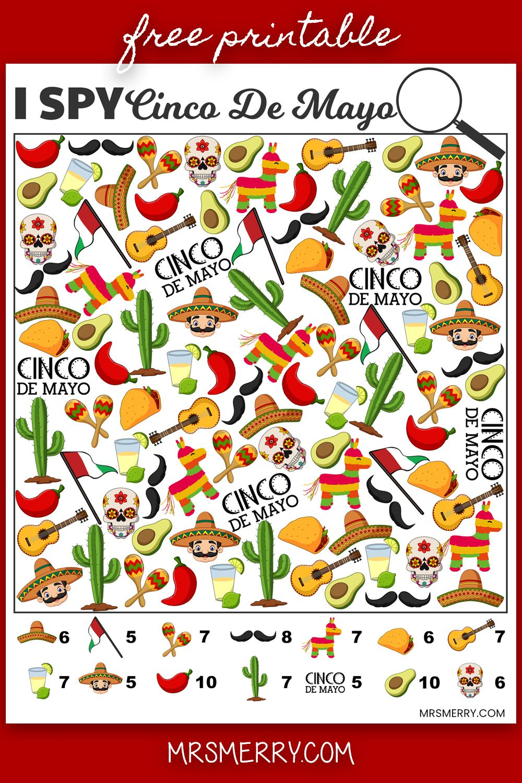 Free Kids Printable I Spy Cinco De Mayo Kids Craft Activity Mrs Merry Cinco De Mayo Free Activities For Kids Printables Free Kids