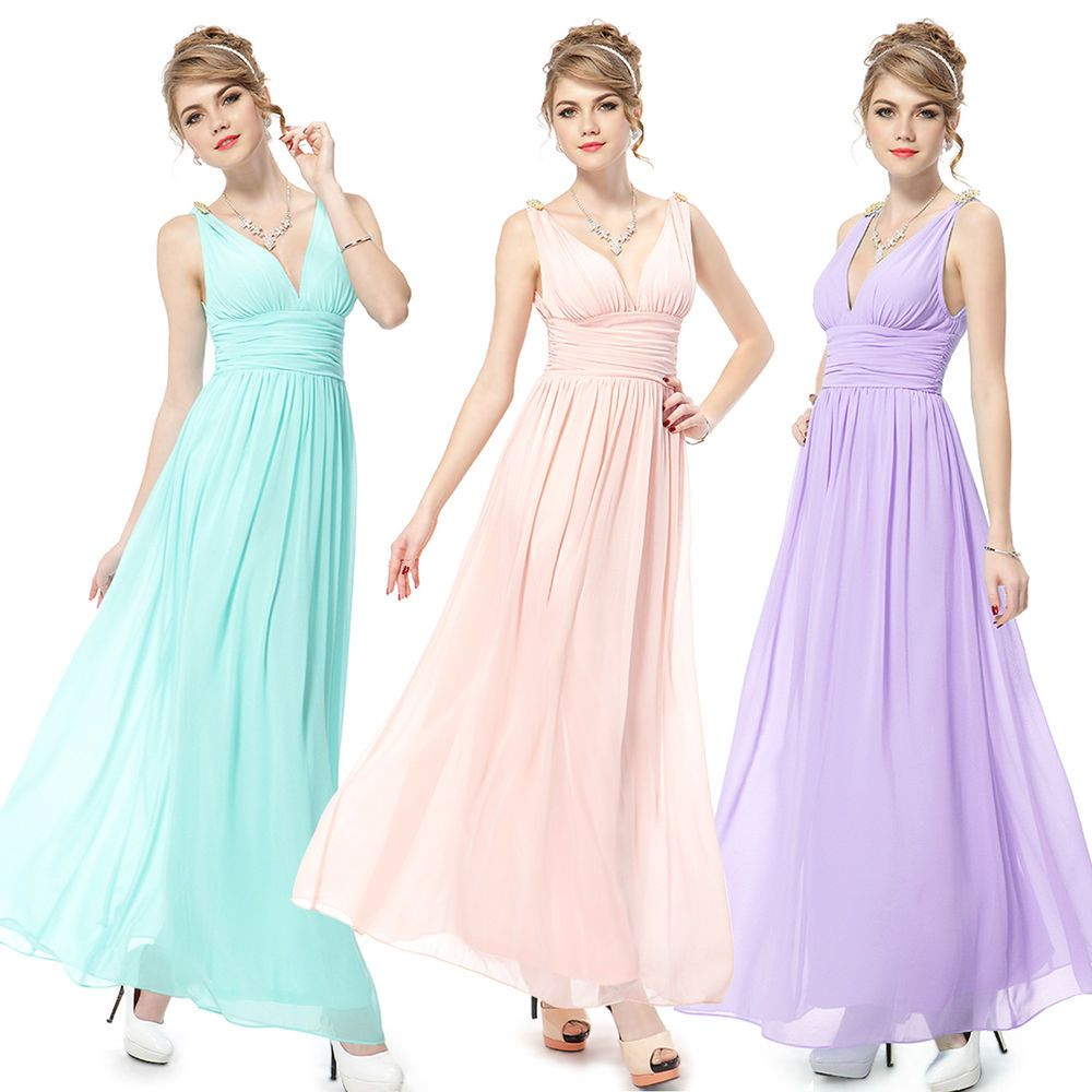 Details about ever pretty women vneck long evening bridesmaid party