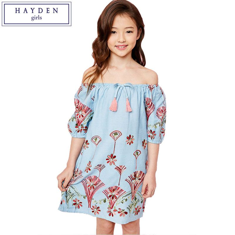 b45c67b30990 HAYDEN Girls Off Shoulder Dress Summer 2017 New Arrival Big Kids ...