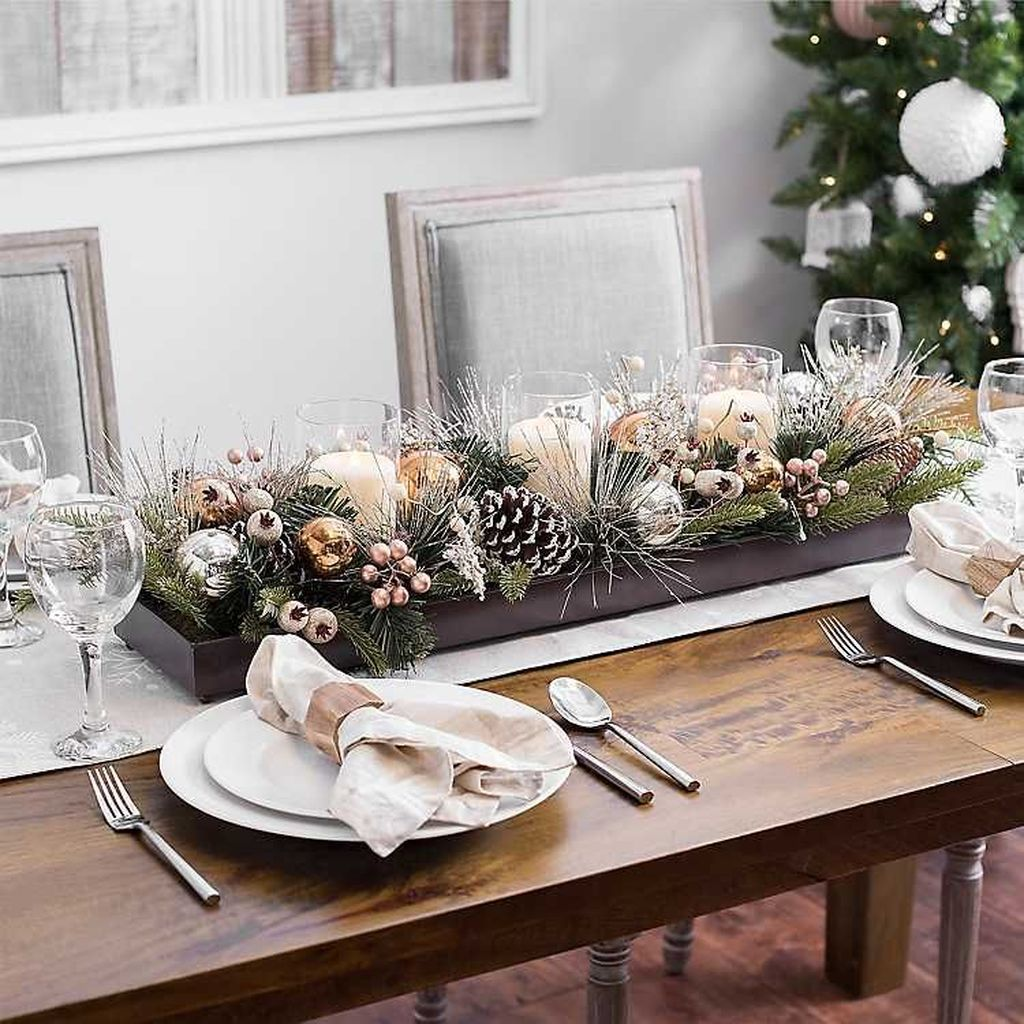 48 Beautiful Winter Dining Room Table Decor Ideas Which You Definitely Like Homyhomee Christmas Table Centerpieces Christmas Centerpieces Christmas Dining Table