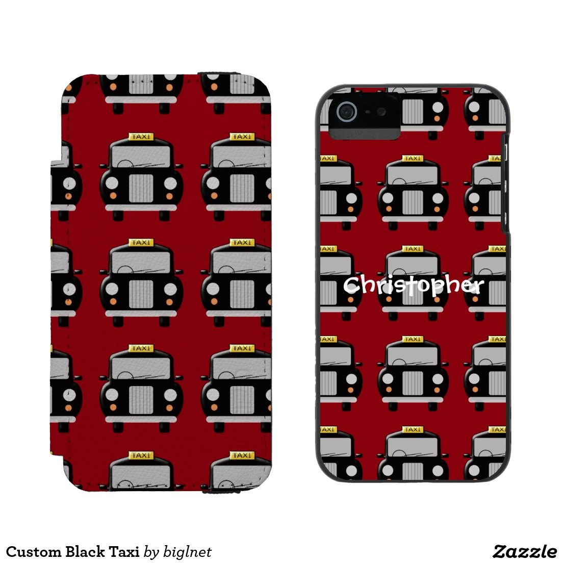 Custom black taxi incipio watson iphone 5 wallet case