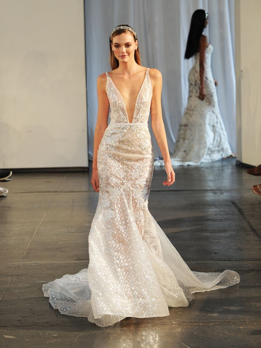 95b3989a8203 Berta Fall/Winter 2019 Bridal Collection: Beaded Fit and Flare Wedding Dress  with Plunging