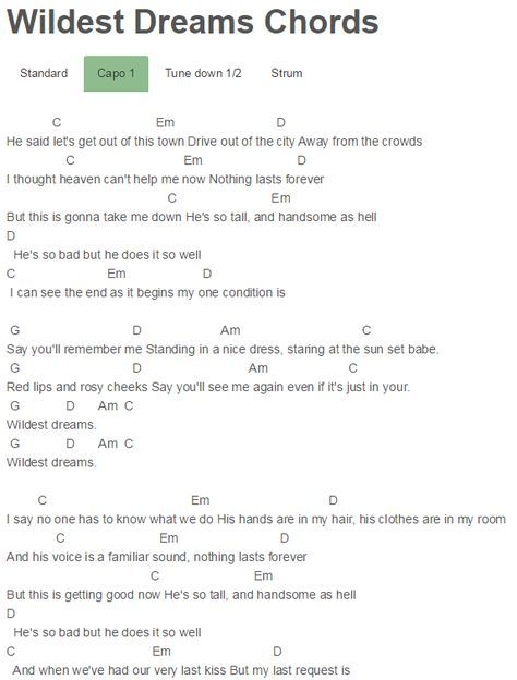Wildest Dreams Chords Taylor Swift | Who rang?? | Pinterest | Taylor ...
