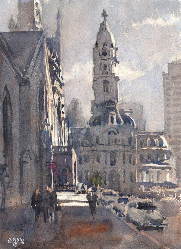 City Hall Philadelphia Watercolor City Watercolor Architecture