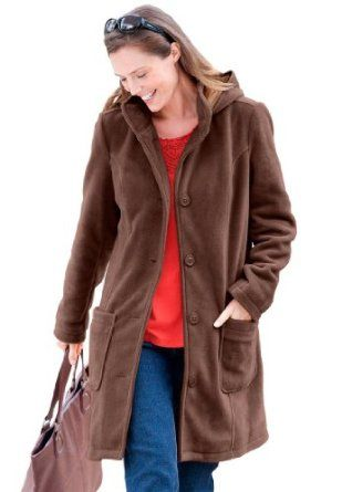 9ae4d6d428e Woman Within Plus Size Jacket In The Coziest Fleece With A-Line Shape  (Chocolate