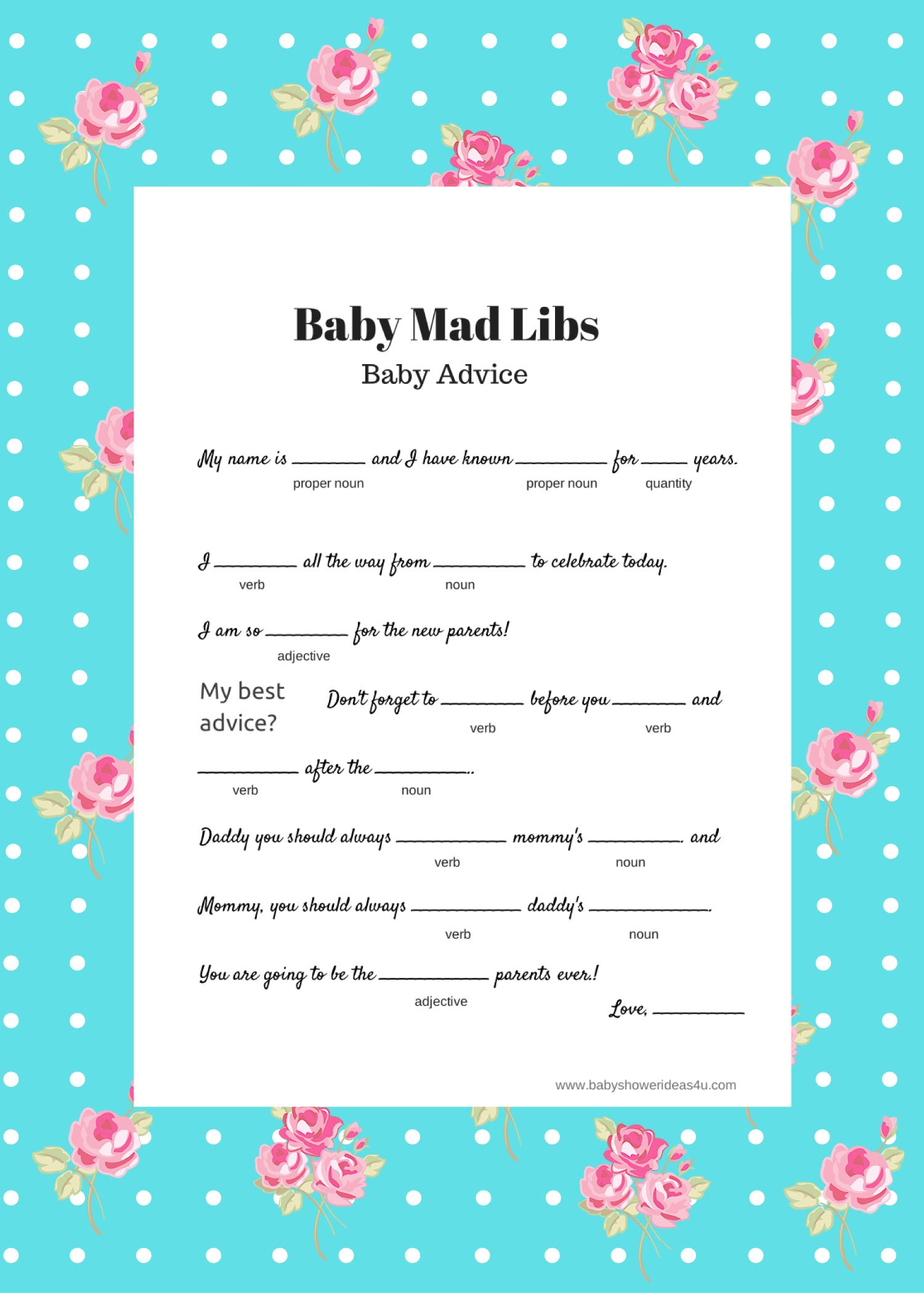 Free Printable Baby Shower Game Mad Libs Shabby Chic