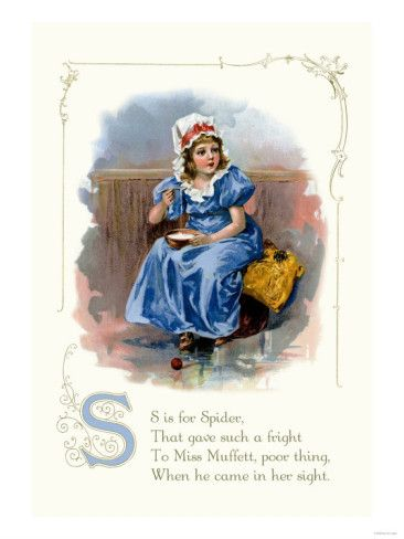 S is for Spider, That gave such a fright To Miss Muffett, poor thing, When he came in her sight.