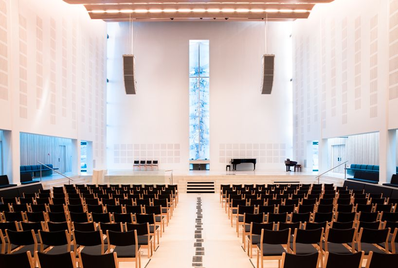 outstanding modern church interior designs spacious church black chairs religious retreat in norway squar - Church Interior Design Ideas