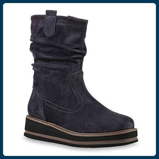 2fde72b8b7bab6 Damen Stiefeletten Keilabsatz Plateau Boots Keilstiefeletten Schuhe 126922  Grau 37