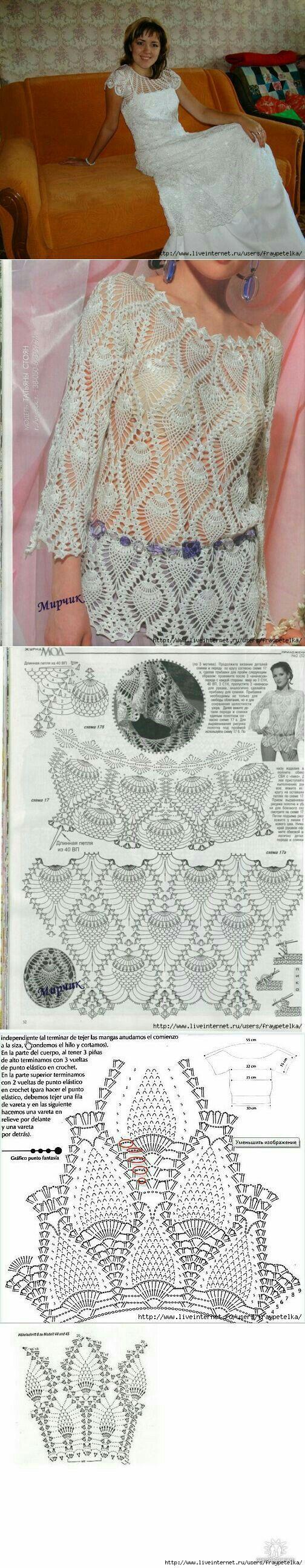 Pin de Rachel traore en crochet | Pinterest | Blusas, Blusas de ...