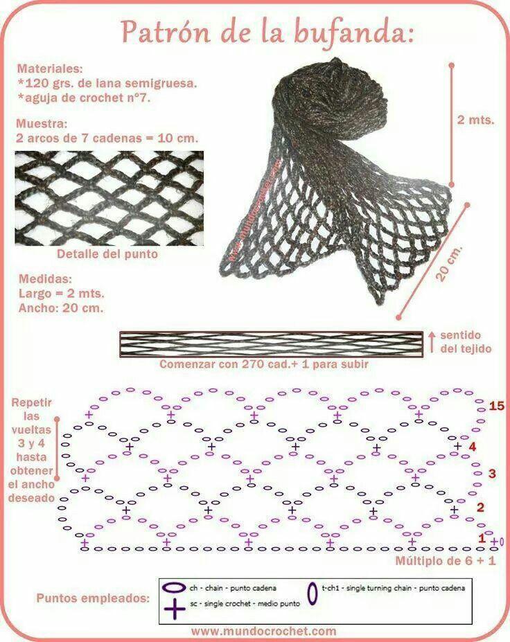 Scarf crochet pattern   Crochet   Pinterest   Ganchillo, Bufanda ...