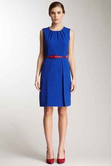 ac84da0d6a2b Calvin Klein Dress Available at Hautelook.com for  59.00. Love the blue  dress with red belt and shoes.