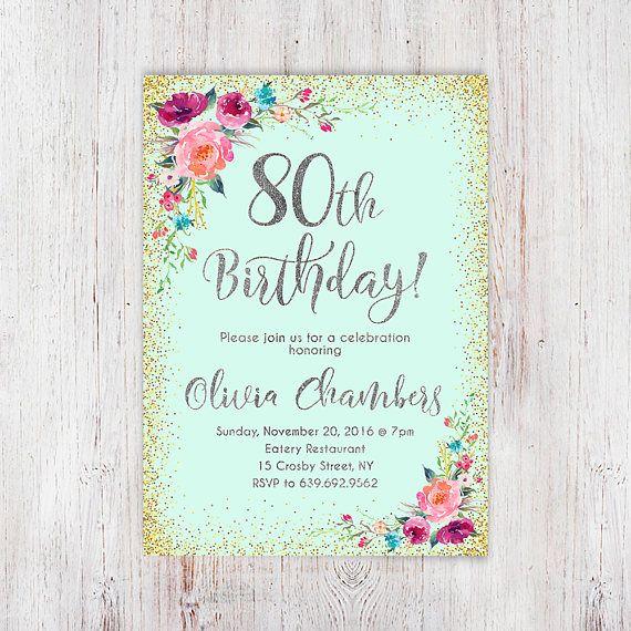 Floral Mint Women Birthday Invitation 80th Birthday Invitation Any