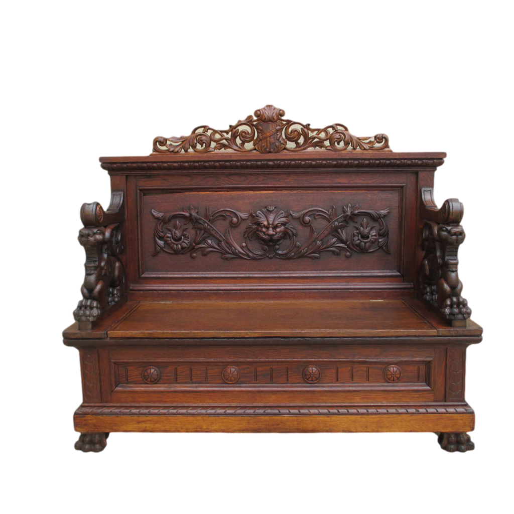 French Antique Gothic Carved Oak Griffin Bench Antique