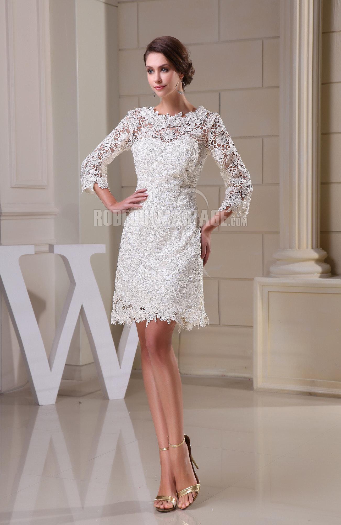 Knee length wedding dress  Manches milongue robe de mariée col haut dentelle longueur aux