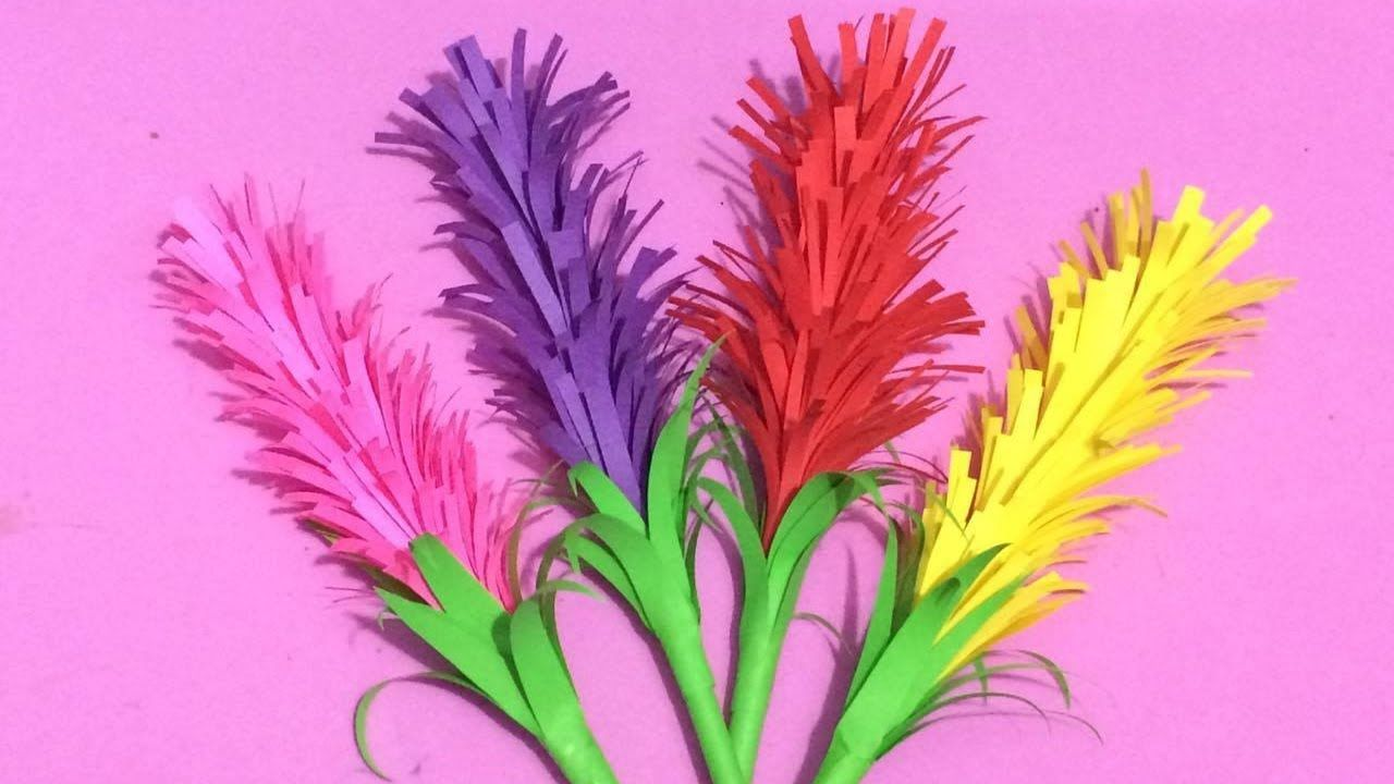 How To Make Lavender Flower With Color Paper Making Paper Flowers
