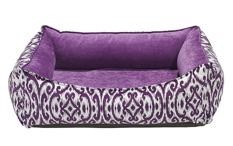 Purple Rain Oslo Ortho Dog Bed by Bowsers  Modern designer bed with scooped front makes it accessible for smaller dogs. The Cool Gel Micro Beads contained in the inner cushion memory foam insert help regulate your pup's body temperature. Features: - Micro-velvet fabric repels dirt, hair & moisture - Inner cushion stuffed generously with `high-memory` polyester fiberfill and Cool Gel Micro Beads with cloth liner.