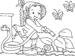 Clipart Black And White In The Garden Google Search Garden Coloring Pages Spring Coloring Pages Flower Coloring Pages