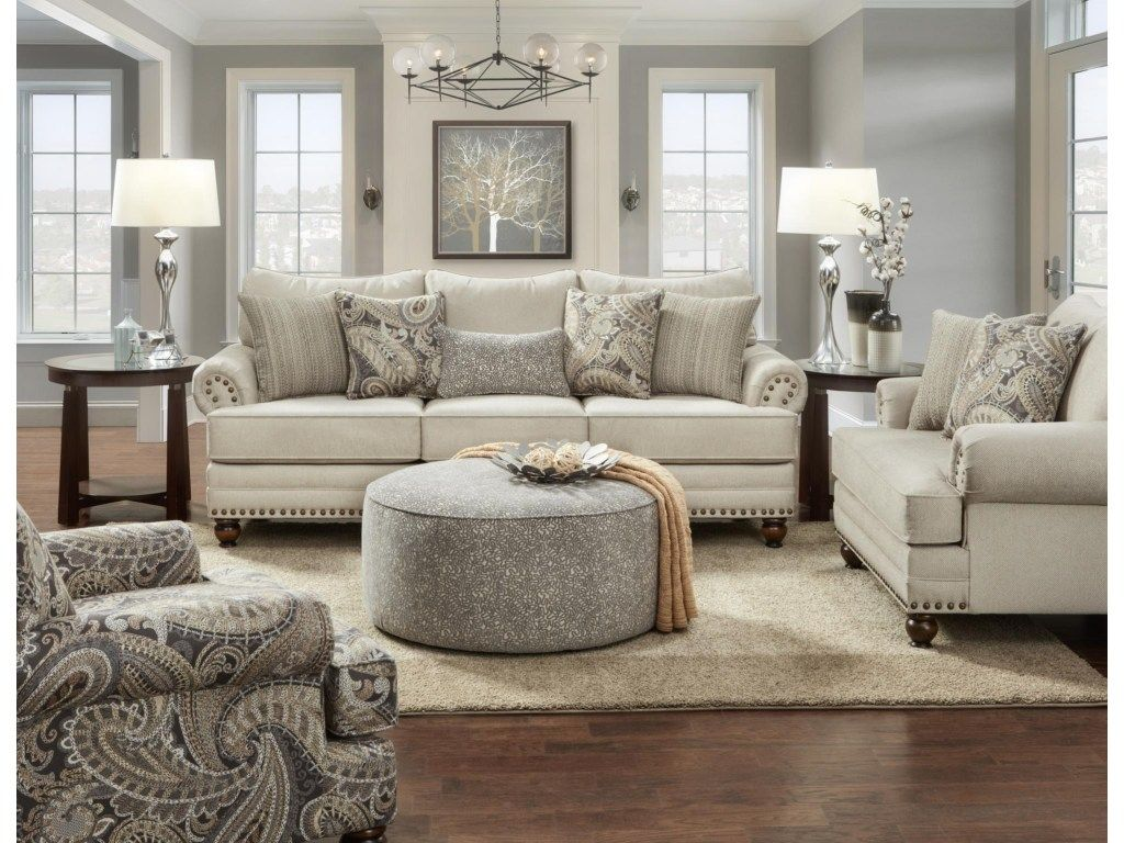 2820 Cary's Doe Traditional Sofa With Nailhead Trim By