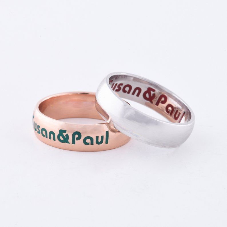 Silver Couple Rings, Promise Rings, Couples Ring, Promise Rings For Couples, His and Her Promise Rings, Personalized Name Ring, Custom Ring