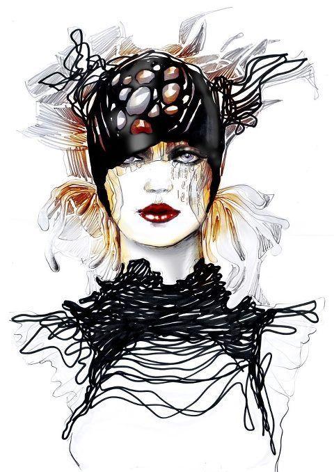 Fashion drawings by Ioana Avram, via Behance