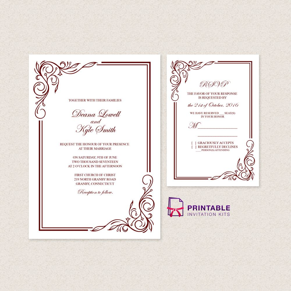 Wedding Invitation Templates Free PDFs - with easy to edit text fields. Just type your wedding information and you're set to go.