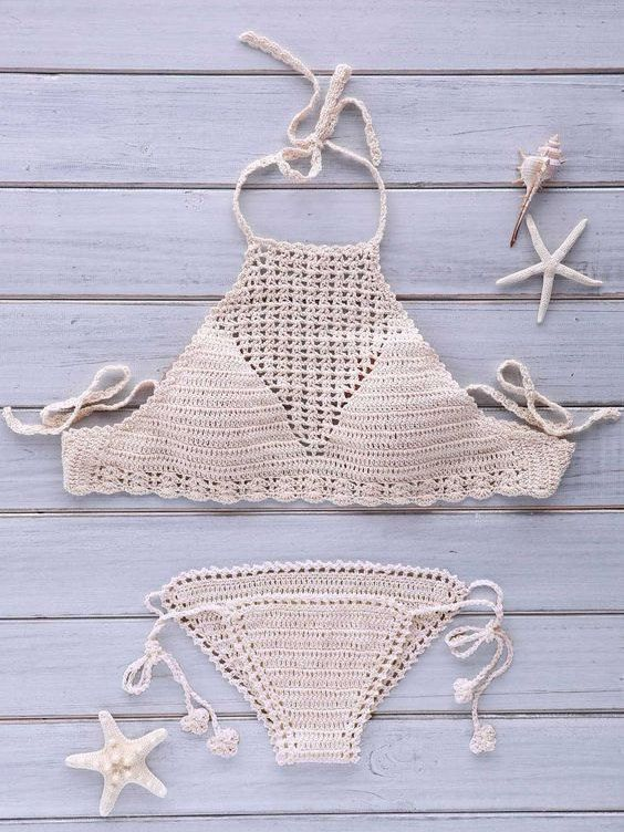 Crochet Halter Top Crochet Bikini Set Boho By Inoricreations Moda