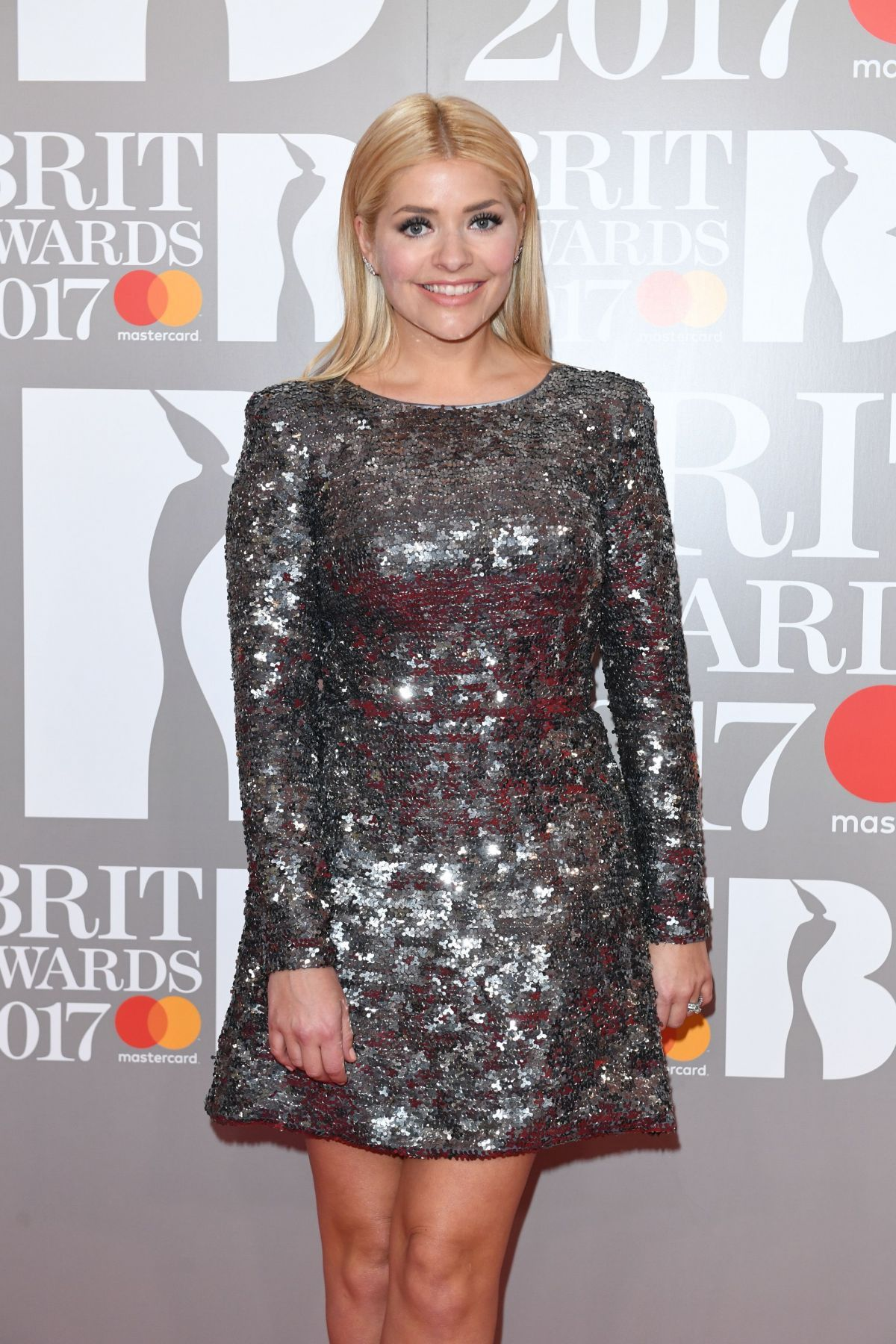9f0d593e Holly Willoughby | Brit Awards 2017 | Silver Sequin Dress by Suzanne Neville