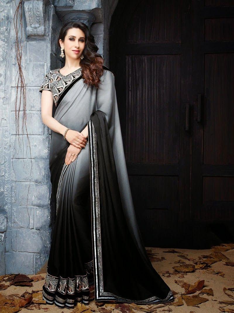 8498e62e567 Karishma Kapoor In Grey   Black Saree