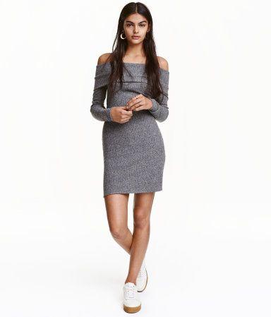 Off-Shoulder-Kleid | Graumeliert | Damen | H&M AT | C R A V I N G S ...