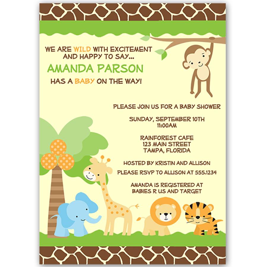 Jungle Safari Boy Baby Shower Invitation   Baby shower parties ...