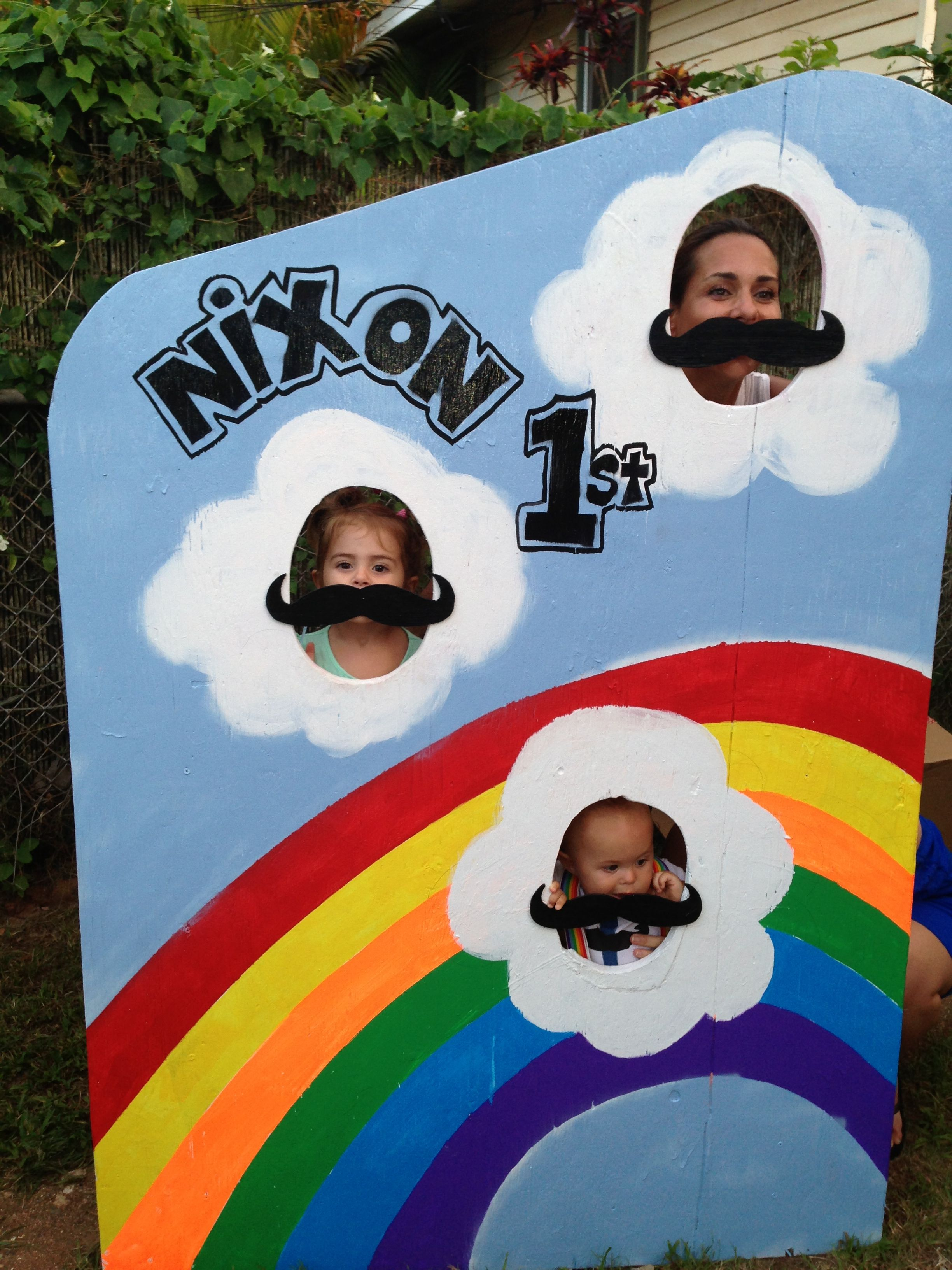 Diy Face Cut Out Board With Rainbow Amp Mustaches