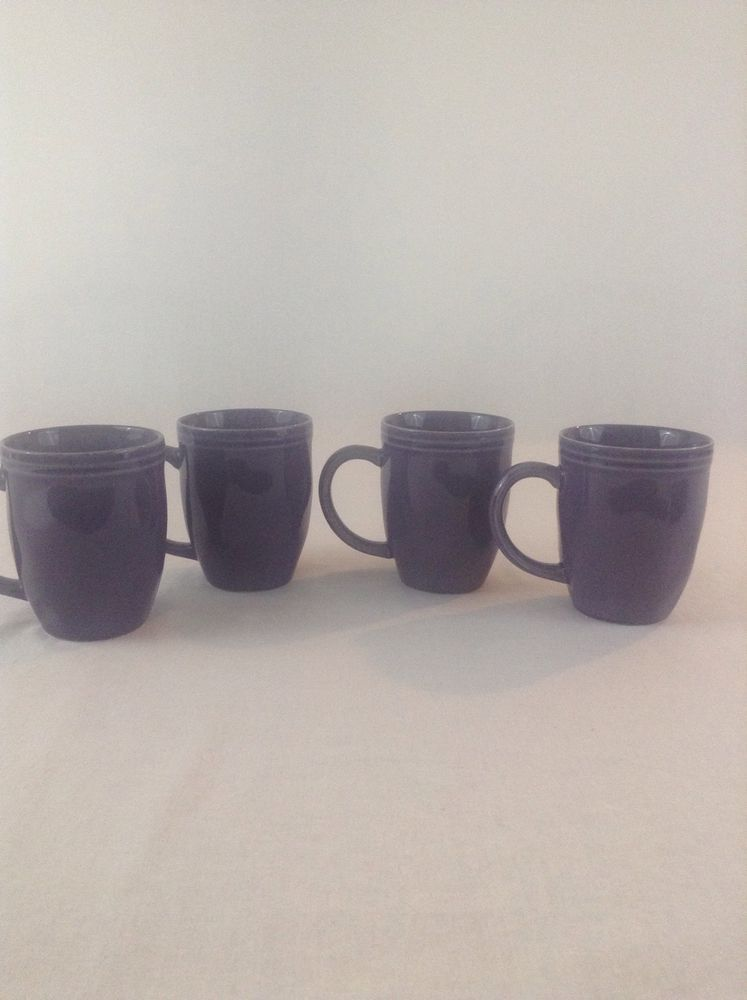 Lot Of 4 Rachael Ray Cucina Purple Handpainted Ceramic Coffee Cup Mug Rachaelray