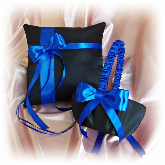 Royal blue and black wedding ring pillow and flower girl basket